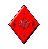 Diamond  for Cards. A red diamond detailed with white glowing elements Stock Images