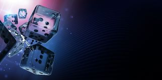Diamond Casino Craps Dices. 3D Rendered Banner Background Illustration. Glassy Dices with Copy Space Stock Images