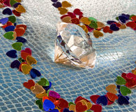 Diamond in the center of the heart Royalty Free Stock Photo