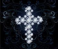 Diamond Christian Cross, invitation card Royalty Free Stock Images
