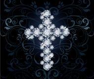 Diamond Christian Cross, uitnodigingskaart Royalty-vrije Stock Afbeeldingen