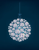 Diamond Christmas ball on blue background Royalty Free Stock Photo
