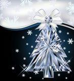 Diamond Christmas-boomkaart met boog Stock Afbeeldingen