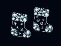 Diamond Christmas Socks Stock Photography