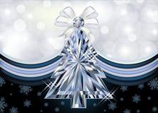 Diamond Christmas tree banner. Vector illustration stock illustration