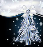 Diamond Christmas tree card with bow Stock Images