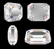 Diamond with classic emerald cut Stock Photo