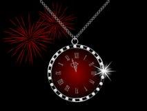 Diamond clock. Diamond necklace with the clock Royalty Free Stock Image