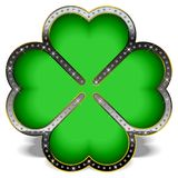 Diamond Clover. Green clover in a luxury frame, decorated with diamonds Royalty Free Stock Photo