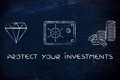 Diamond, coins and safe with text Protect your investments Stock Photo