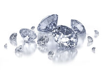 Diamond composition on white. Set of diamonds on white background  with clipping path Stock Images