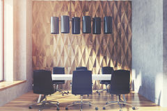 Diamond conference room, wood, toned Stock Photos
