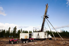 Diamond core drilling looking for minerals royalty free stock photos