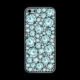 Diamond covered phone case. On black background Stock Photography