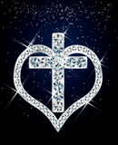 Diamond cross and heart. Royalty Free Stock Photography