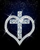 Diamond cross and heart. Royalty Free Stock Photography