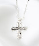 Diamond cross necklace Royalty Free Stock Images