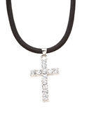 Diamond cross pendant and necklace Stock Photos
