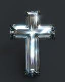 Diamond cross purity shiny light. Pure diamond cross shining with powerful light. Isolated and unmounted gemstone religious background stock illustration
