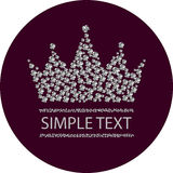 Diamond crown in burgundy circle. Vector illustration Stock Photography