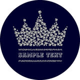 Diamond crown in dark blue circle. Vector illustration Stock Photography