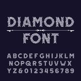 Diamond crystal alphabet font. Ornate jewellery letters and numbers. Stock vector typography stock illustration