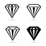 Diamond crystal set black vector Stock Photo