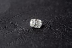 Diamond Cushion Cut. Luxury cushion crushed ice diamond on black background stock photos