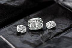 Diamond Cushion Cut. Luxury cushion crushed ice diamond on black background stock photo