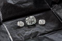Diamond Cushion Cut. Luxury cushion crushed ice diamond on black background royalty free stock images