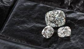 Diamond Cushion Cut. Luxury cushion crushed ice diamonds on black background stock photos