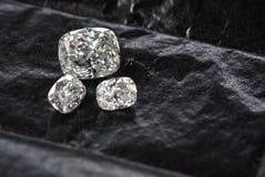 Diamond Cushion Cut. Luxury cushion crushed ice diamonds on black background stock image
