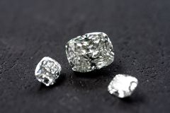 Diamond Cushion Cut. Luxury cushion crushed ice diamonds on black background stock photo