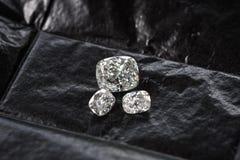 Diamond Cushion Cut. Luxury cushion crushed ice diamonds on black background royalty free stock photos
