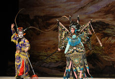 """Diamond Cut Diamond- Beijing Opera"""" Women Generals of Yang Family"""". This opera tells a patriotic story how does an old woman of a hundred years old Royalty Free Stock Images"""