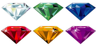 Diamond cut precious stones with sparkle Royalty Free Stock Photo