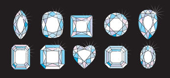 Diamond Cuts and shapes. Some Diamond Cuts and shapes Royalty Free Stock Photography