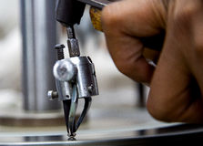 Diamond cutting in factory Royalty Free Stock Photography