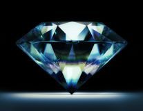 Diamond 3d illustration. On black background Stock Photos
