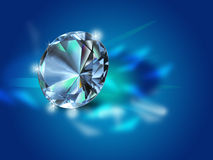 Diamond on dark blue background Stock Photos
