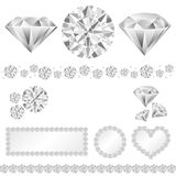 Diamond decoration. Set of decorative diamonds.  Vector illustration Royalty Free Stock Image