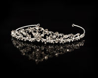 Diamond diadem on a black background Stock Photo