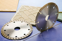 Diamond discs for cutting of tile Stock Photography