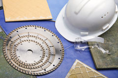 Diamond discs for cutting of tile, building goggle Stock Image