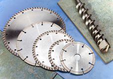 Diamond disks of the various size and appointment and drill Royalty Free Stock Photography
