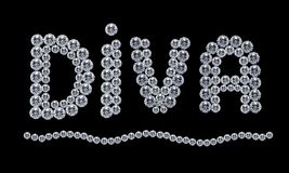 Diamond Diva. An arrangement of diamonds forming the word 'Diva', isolated on black background stock photography
