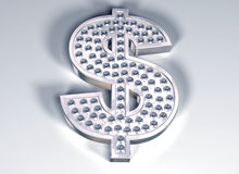Diamond dollar. Illustration of a diamond studded dollar symbol Stock Photography