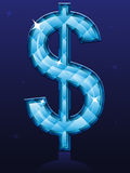 Diamond Dollar Sign. An illustration of a blue dollar sign encrusted in diamonds Royalty Free Stock Photography