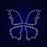Diamond dotted butterfly. On the blue mysterious background , vector illustration Stock Photography