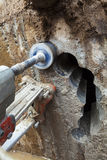 Diamond drilling holes in concrete wall Royalty Free Stock Photos